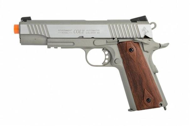 Colt 1911 .45 ACP CO2 Rail Gun Blowback Airsoft Pistol, Stainless