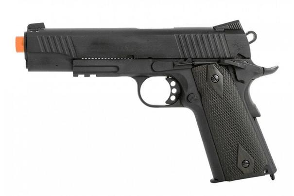 Colt 1911 .45 ACP CO2 Rail Gun Blowback Airsoft Pistol, Tactical Black