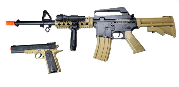 Colt Spring M4 and Pistol Combo Kit, Two-Tone Tan and Black