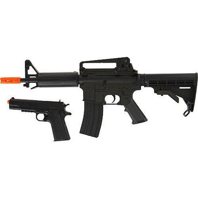 DPMS Panther Arms Kitty Kat Airsoft Automatic Mini M4 and Spring Pistol Kit