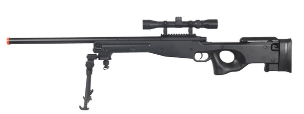 AGM L96 AWP Bolt Action Airsoft Sniper Rifle w/ Scope and Bipod, Black