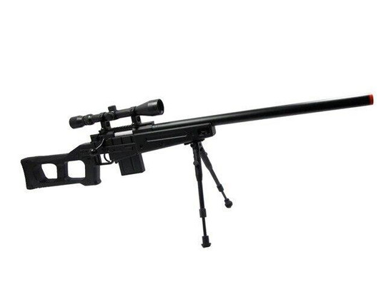 WELL L96 Airsoft Spring Sniper Rifle with Compact Skeleton Stock, Scope and Bipod