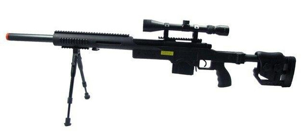 WELL Airsoft Spring Scout Sniper Rifle with Folding Stock, Scope, Bipod, and Tubular RIS