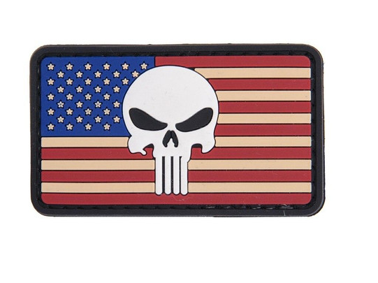 Punisher Red White and Blue USA Flag PVC Velcro Patch