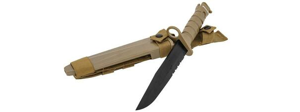 M10 Dummy Bayonet Rubberized Plastic Training Knife w/ Sheath, Tan