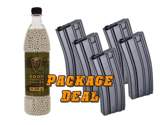 Elite Force M4 Mid Cap Mags and 0.25g BBs Combo Package