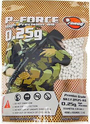 Premium 0.25g BBs by P-Force, 1KG Bag, White