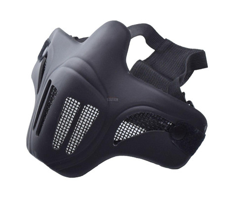 Ghost Recon Style Steel Mesh Half Face Mask for Airsoft, Black