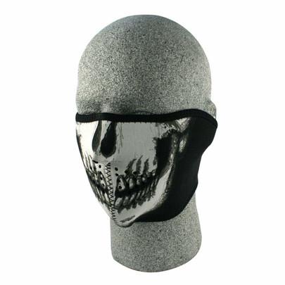 Neoprene Half Face Mask, Black w/ Skull