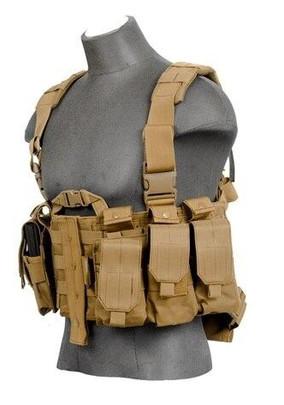 Lancer Tactical Nylon M4 Chest Harness, Tan