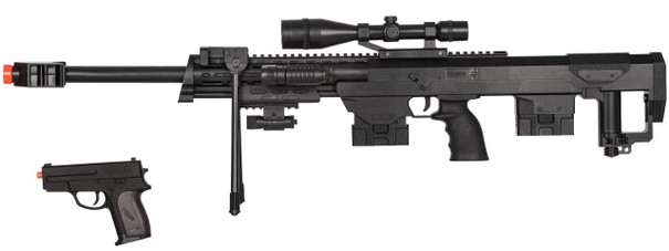 P1050 Spring Rifle w/Flashlight Laser and P211 Spring Pistol Combo