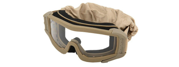 Lancer Tactical UV400 Safety Goggles, Tan, Clear Lens