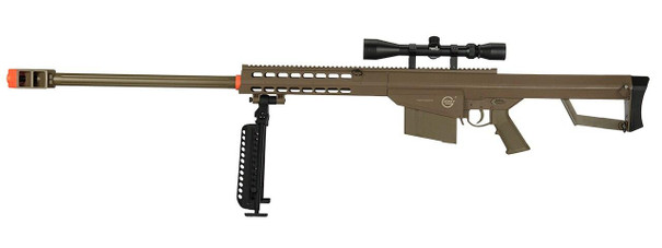 Lancer Tactical M82 .50-Cal Spring Airsoft Sniper Rifle w/ Bipod and Scope, Tan