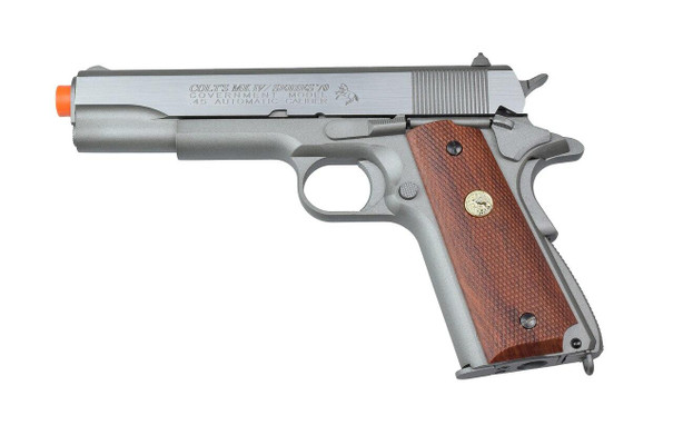 Colt MK IV/Series 70 Co2 Blowback Airsoft Pistol, Silver/Wood