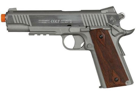 Colt 1911 Rail Gun Non-Blowback Airsoft Pistol, Silver