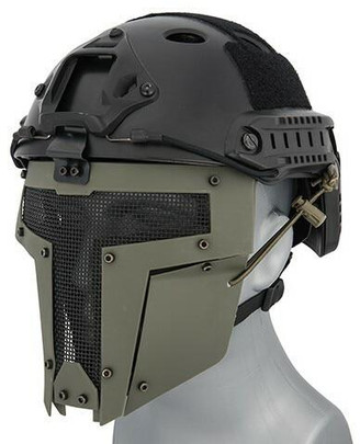 Mesh Mask Face Shield for Airsoft Helmet Systems, OD Green