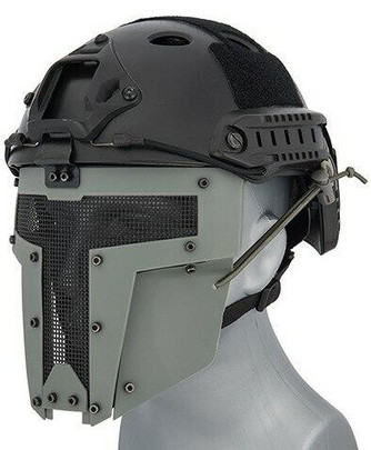 Mesh Mask Face Shield for Airsoft Helmet Systems, Gray