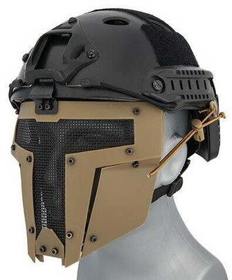 Mesh Mask Face for Airsoft Helmet Systems, Tan