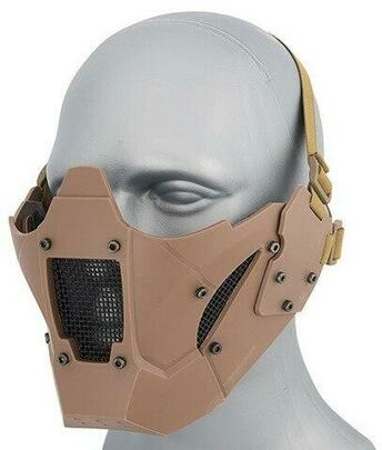 Mesh and Polymer Retro Mecha Lower Face Protection System, Tan
