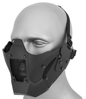 Mesh and Polymer Retro Mecha Lower Face Protection System, Black