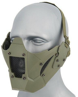Mesh and Polymer Retro Mecha Lower Face Protection System, OD Green