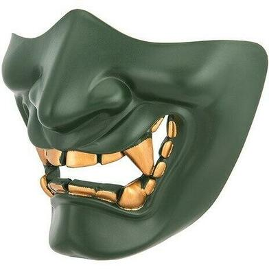 Yokai Ogre Padded Polymer Lower Face Mask, Green