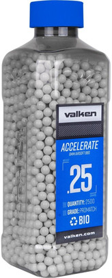Valken Accelerate 0.25g BBs, 2500 CT, White, Bio