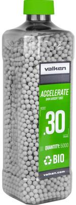 Valken Accelerate 0.30g BBs, 5000 CT, White, Bio