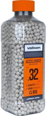 Valken Accelerate 0.32g BBs, 2500 CT, White, Bio