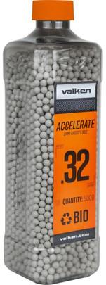 Valken Accelerate 0.32g BBs, 5000 CT, White, Bio