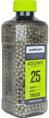 Valken Accelerate 0.25g BBs, 2500 CT, Tracer