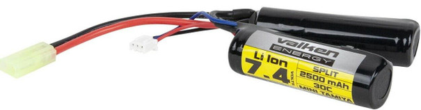 Valken Energy Li-Ion 7.4v 2500mAh High Output Split Battery, Mini Tamiya