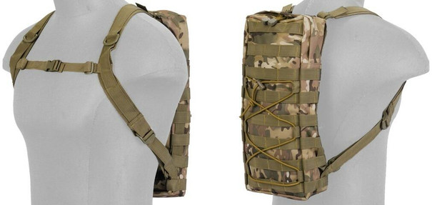 Lancer Tactical Nylon MOLLE Attachable Hydration Backpack, Camo