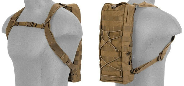 Lancer Tactical Nylon MOLLE Attachable Hydration Backpack, Tan