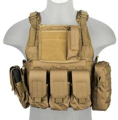 Lancer Tactical Nylon Tactical Assault Plate Carrier, Tan