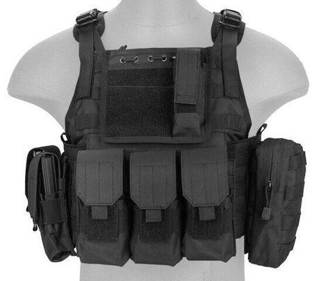 Lancer Tactical Nylon Tactical Assault Plate Carrier, Black