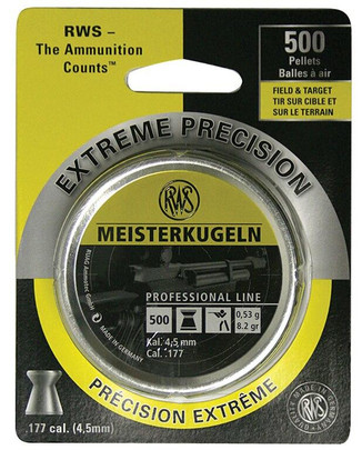 UMAREX RWS Meisterkugeln Professional Line .177 Cal 500 Count Wadcutter Pellets, 8.2 Grains