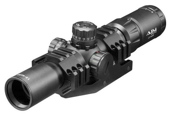 Aim Sports 1.5-4x30 Mil-Dot CQB Scope w/ Cantilever Mount and Tri-Color Illumination