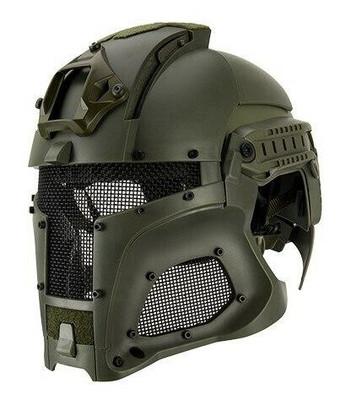 Interstellar Battle Trooper Full Face Airsoft Helmet, OD Green