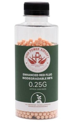 HPA 0.25g FLUO Biodegradable Red Tracer Airsoft BBs, 2000 Ct