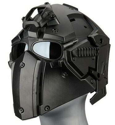 WoSport Tactical Helmet w/ NVG Shroud and Transfer Base, Black