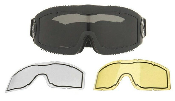 Lancer Tactical AERO Series Dual Pane Airsoft Goggles, Black w/ Smoked, Yellow, and Clear Lens