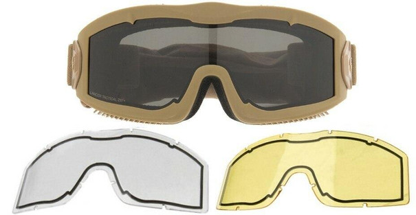 Lancer Tactical AERO Series Dual Pane Airsoft Goggles, Tan w/ Smoked, Yellow, and Clear Lens