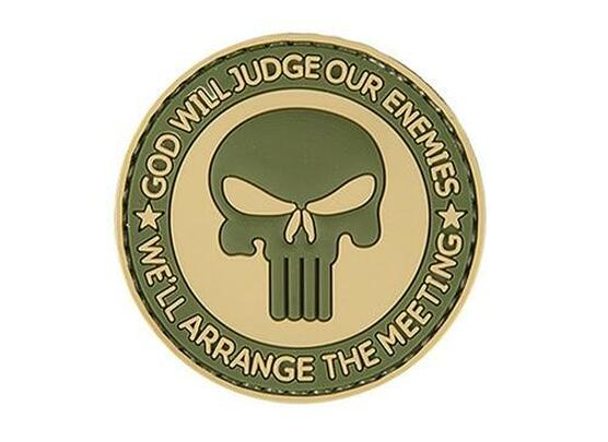 God Will Judge Our Enemies PVC Patch, Tan and OD Green