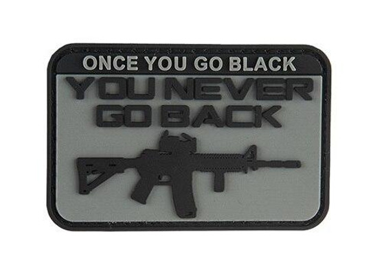 G-Force Once You Go Black You Never Go Back PVC Morale Patch, Gray