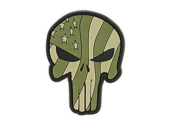 G-Force Punisher Flag Green Waving US Flag Punisher PVC Morale Patch