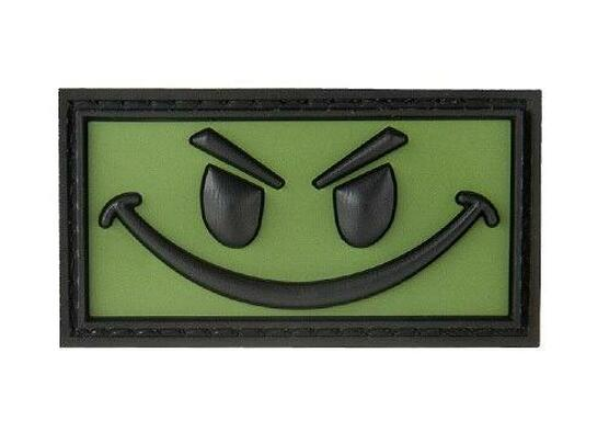 Big Evil Smiley PVC Morale Patch, OD Green