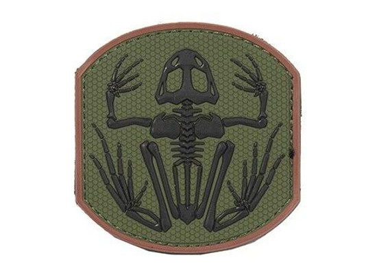 Frog Skeleton PVC Patch, OD Green and Black