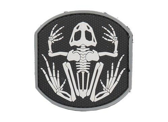 Frog Skeleton PVC Patch, Black and White