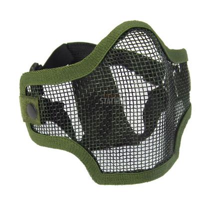 2G Steel Mesh Half Face Mask, OD Green w/ Skull